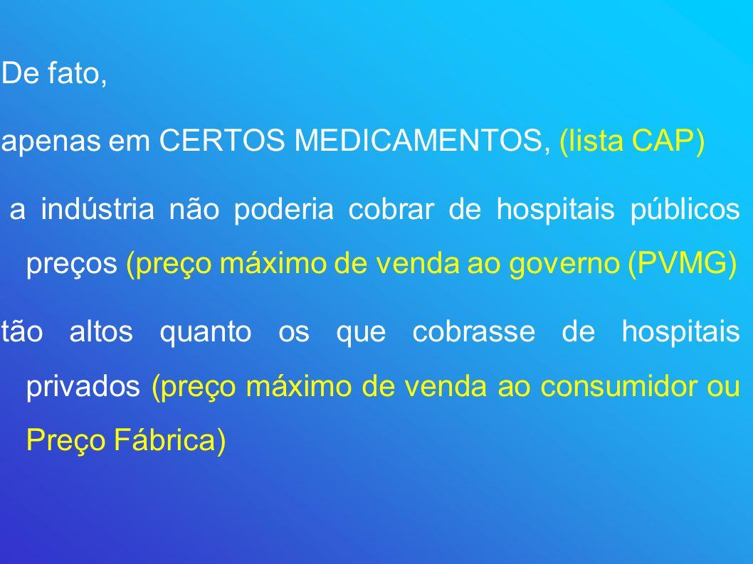 De fato, apenas em CERTOS MEDICAMENTOS, (lista CAP) a indústria não poderia cobrar de hospitais públicos preços (preço máximo de venda ao governo (PVM
