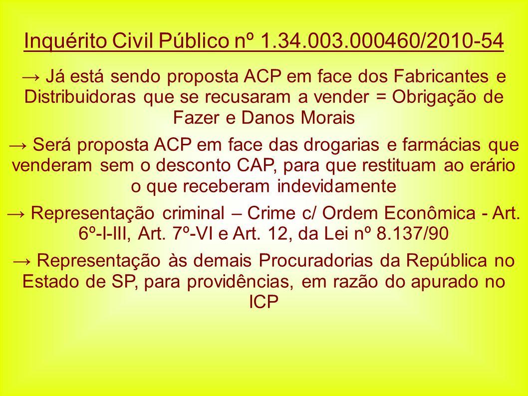 Inquérito Civil Público nº 1.34.003.000460/2010-54 Já está sendo proposta ACP em face dos Fabricantes e Distribuidoras que se recusaram a vender = Obr