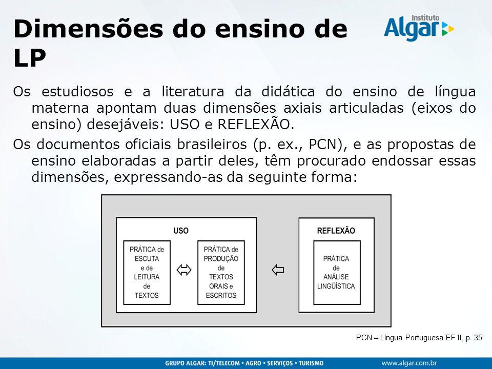 Dimensões do ensino de LP Os estudiosos e a literatura da didática do ensino de língua materna apontam duas dimensões axiais articuladas (eixos do ens