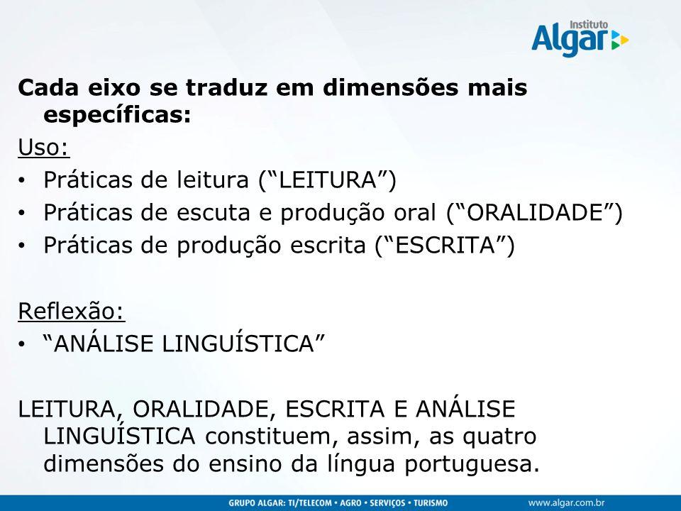 Cada eixo se traduz em dimensões mais específicas: Uso: Práticas de leitura (LEITURA) Práticas de escuta e produção oral (ORALIDADE) Práticas de produ
