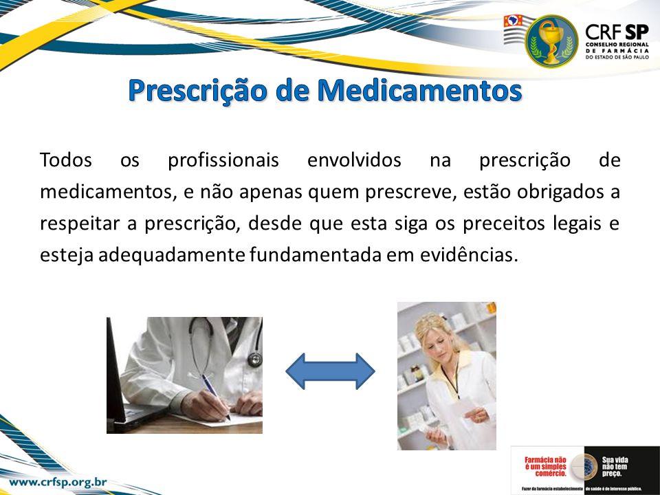 Todos os profissionais envolvidos na prescrição de medicamentos, e não apenas quem prescreve, estão obrigados a respeitar a prescrição, desde que esta