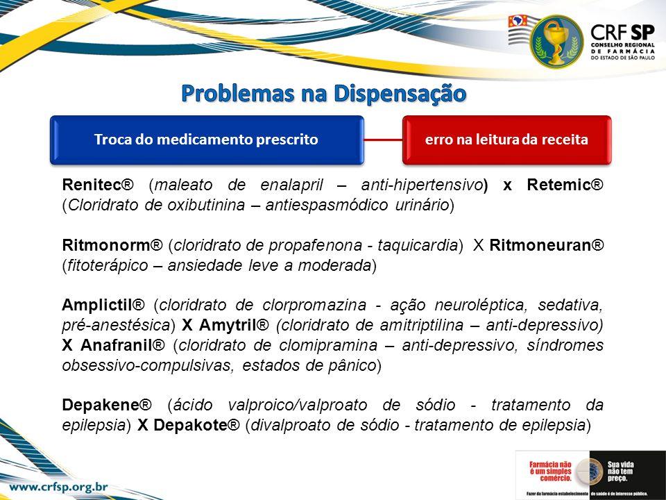 Troca do medicamento prescrito erro na leitura da receita Renitec® (maleato de enalapril – anti-hipertensivo) x Retemic® (Cloridrato de oxibutinina –