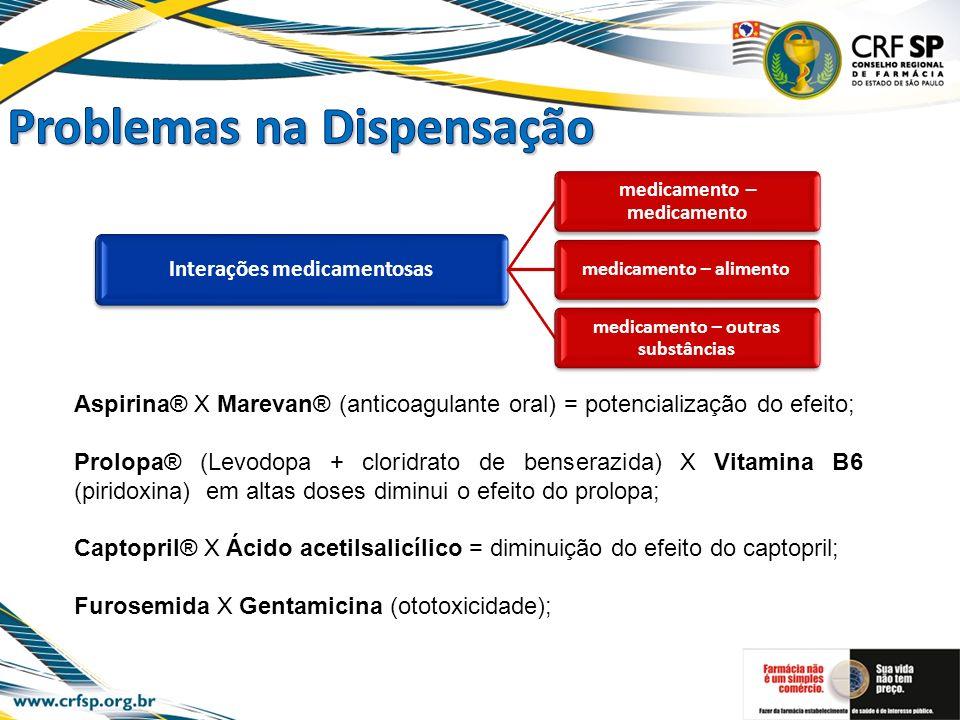 Interações medicamentosas medicamento – medicamento medicamento – alimento medicamento – outras substâncias Aspirina® X Marevan® (anticoagulante oral)