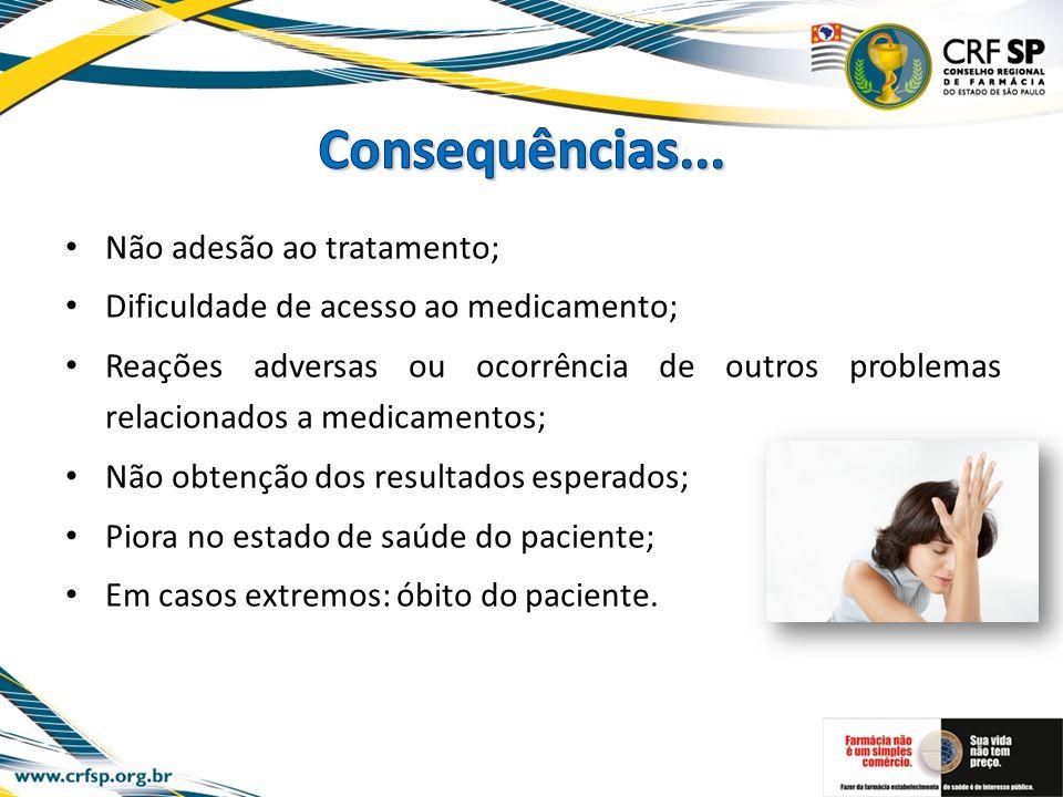 Não adesão ao tratamento; Dificuldade de acesso ao medicamento; Reações adversas ou ocorrência de outros problemas relacionados a medicamentos; Não ob