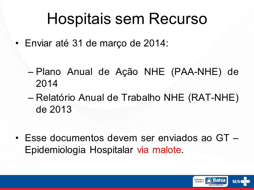 Hospitais sem Recurso Enviar até 31 de março de 2014: –Plano Anual de Ação NHE (PAA-NHE) de 2014 –Relatório Anual de Trabalho NHE (RAT-NHE) de 2013 Es