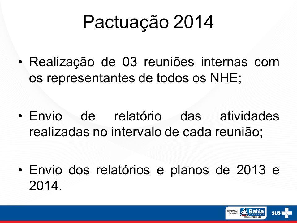 Pactuação 2014 Realização de 03 reuniões internas com os representantes de todos os NHE; Envio de relatório das atividades realizadas no intervalo de