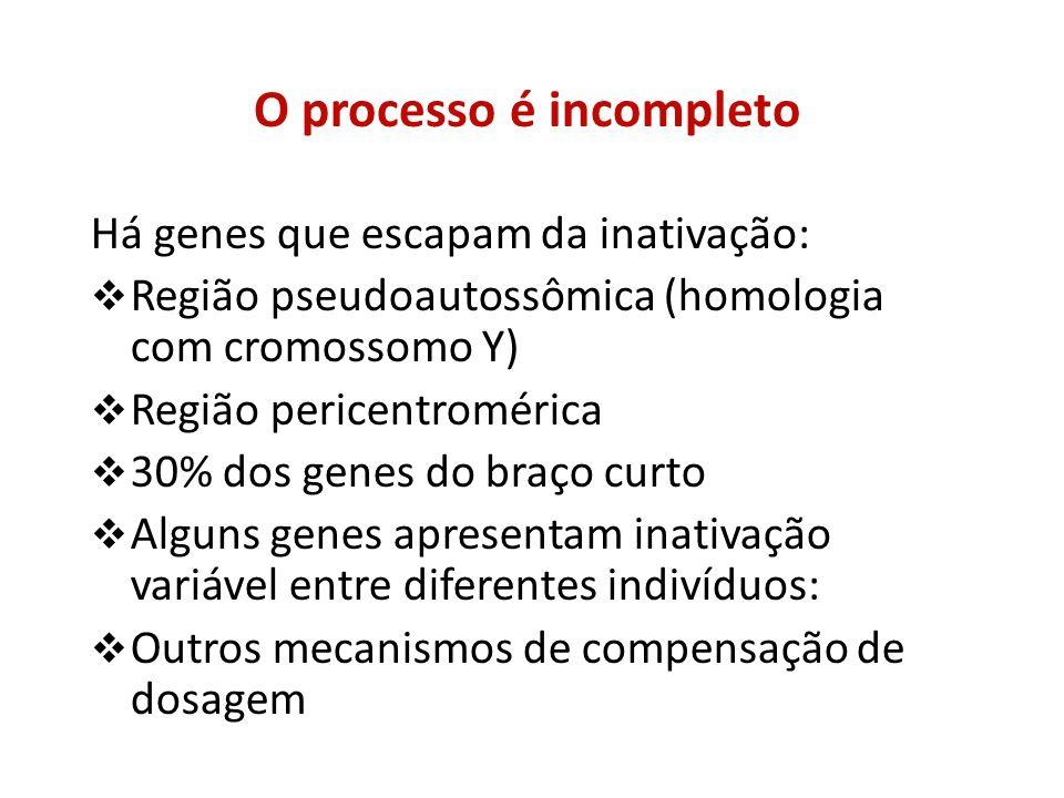 O processo é incompleto Há genes que escapam da inativação: Região pseudoautossômica (homologia com cromossomo Y) Região pericentromérica 30% dos gene