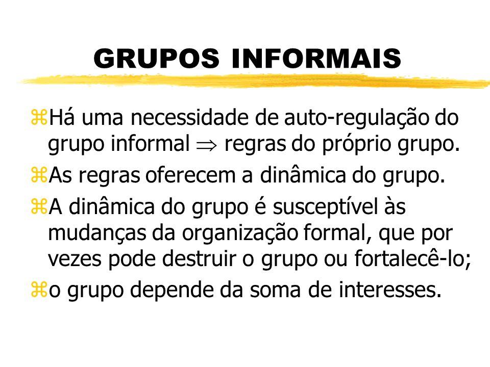 GRUPOS INFORMAIS zHá uma necessidade de auto-regulação do grupo informal regras do próprio grupo.