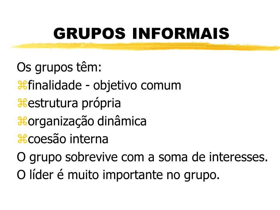 GRUPOS INFORMAIS Os grupos têm: zfinalidade - objetivo comum zestrutura própria zorganização dinâmica zcoesão interna O grupo sobrevive com a soma de interesses.