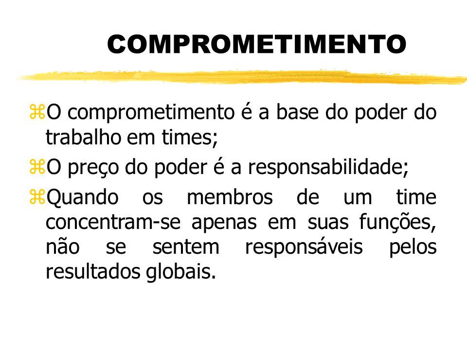 COMPROMETIMENTO zO comprometimento é a base do poder do trabalho em times; zO preço do poder é a responsabilidade; zQuando os membros de um time concentram-se apenas em suas funções, não se sentem responsáveis pelos resultados globais.