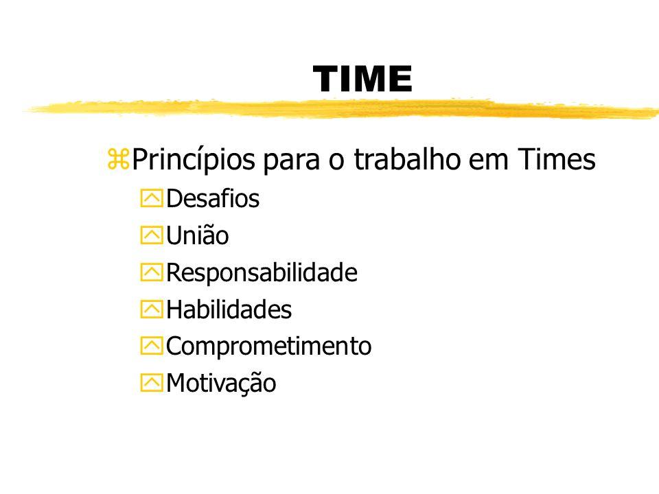 TIME zPrincípios para o trabalho em Times yDesafios yUnião yResponsabilidade yHabilidades yComprometimento yMotivação