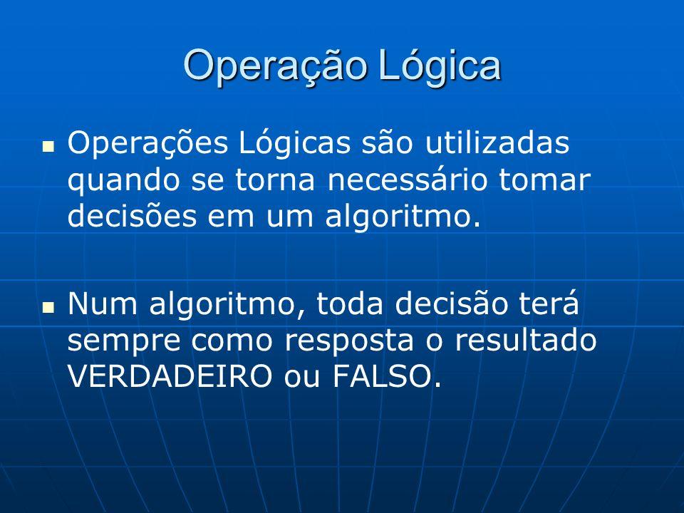 Operação Lógica Operações Lógicas são utilizadas quando se torna necessário tomar decisões em um algoritmo. Num algoritmo, toda decisão terá sempre co