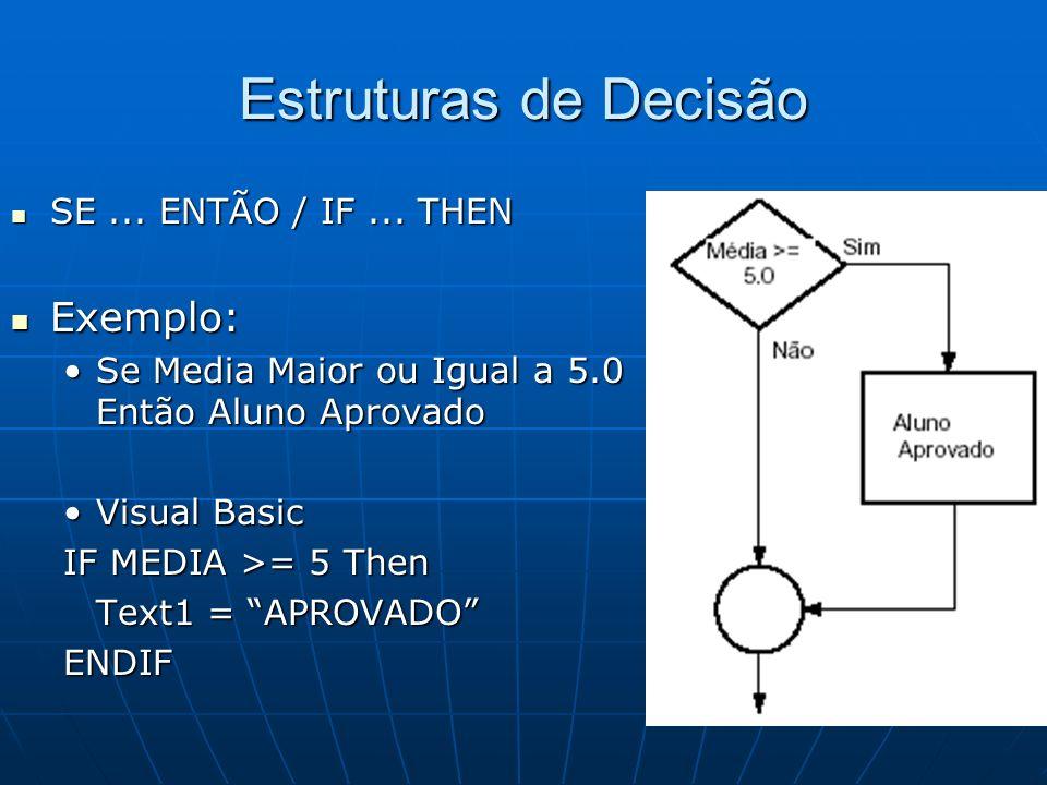 Estruturas de Decisão SE... ENTÃO / IF... THEN SE... ENTÃO / IF... THEN Exemplo: Exemplo: Se Media Maior ou Igual a 5.0 Então Aluno AprovadoSe Media M