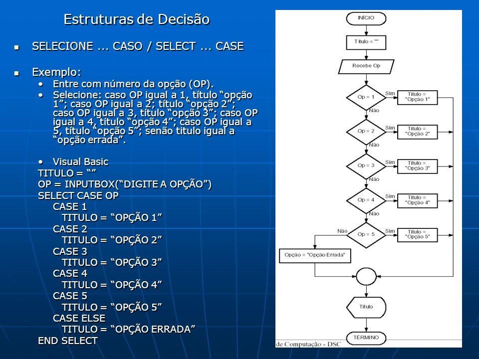 Estruturas de Decisão SELECIONE... CASO / SELECT... CASE SELECIONE... CASO / SELECT... CASE Exemplo: Exemplo: Entre com número da opção (OP).Entre com