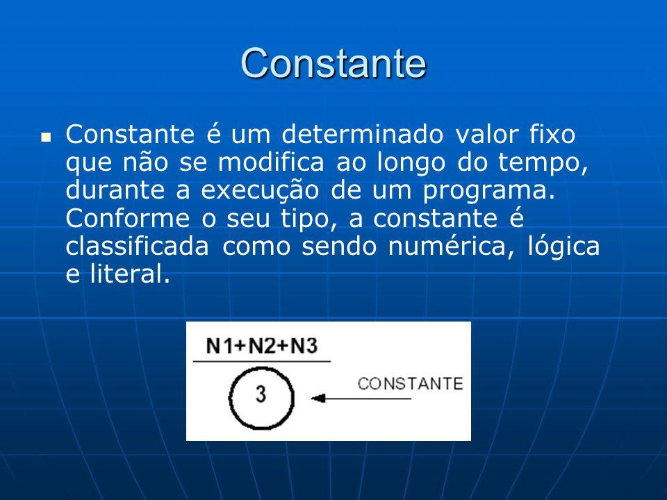 Constante Constante é um determinado valor fixo que não se modifica ao longo do tempo, durante a execução de um programa. Conforme o seu tipo, a const