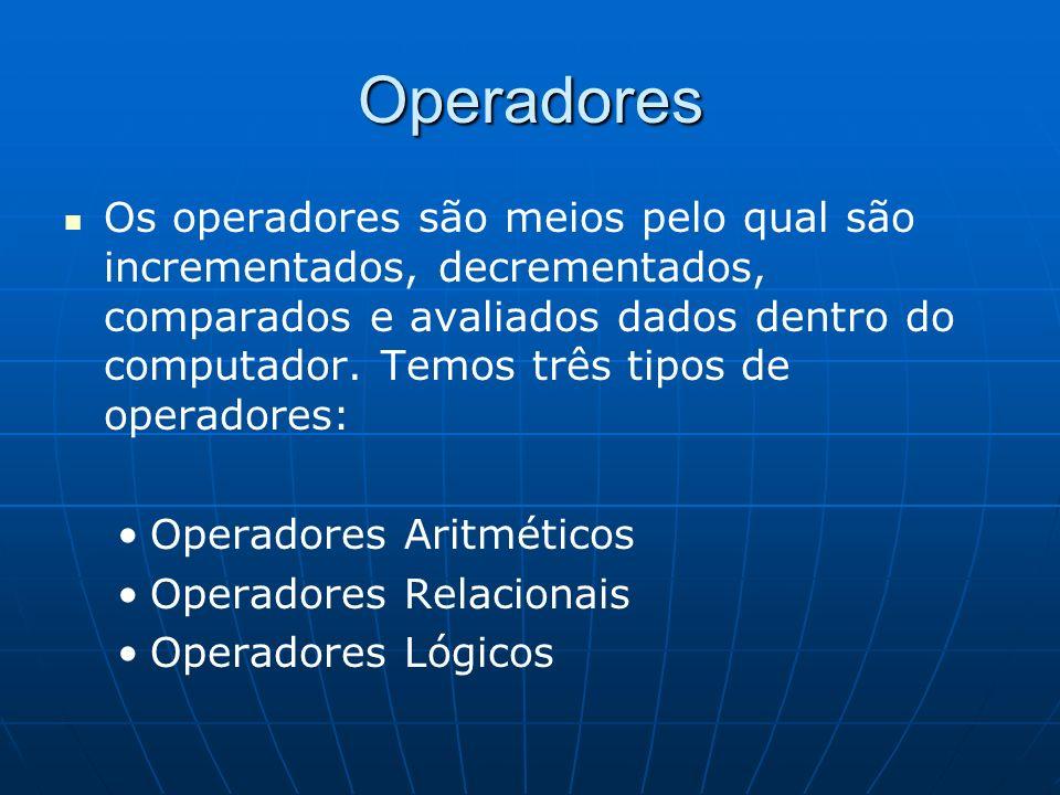Operadores Os operadores são meios pelo qual são incrementados, decrementados, comparados e avaliados dados dentro do computador. Temos três tipos de
