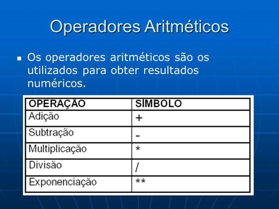 Operadores Aritméticos Os operadores aritméticos são os utilizados para obter resultados numéricos.