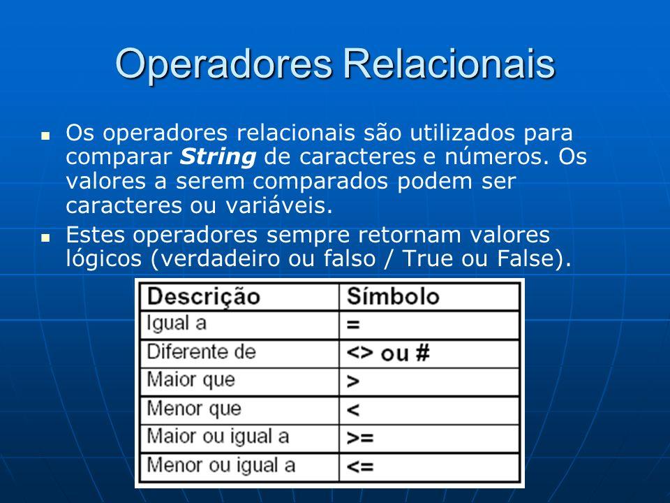 Operadores Relacionais Os operadores relacionais são utilizados para comparar String de caracteres e números. Os valores a serem comparados podem ser