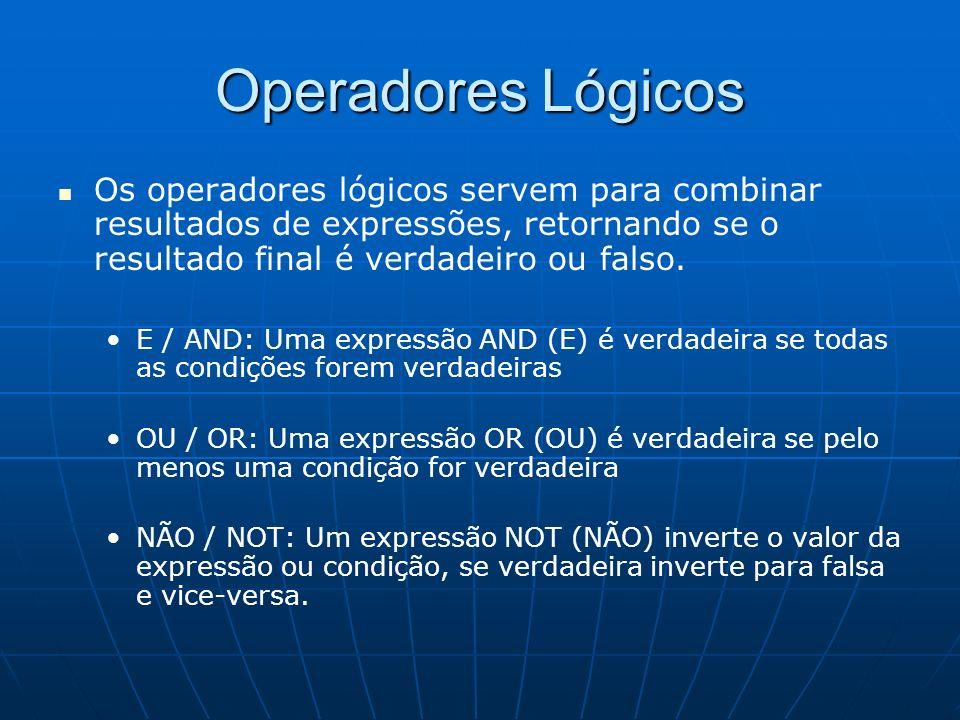 Operadores Lógicos Os operadores lógicos servem para combinar resultados de expressões, retornando se o resultado final é verdadeiro ou falso. E / AND
