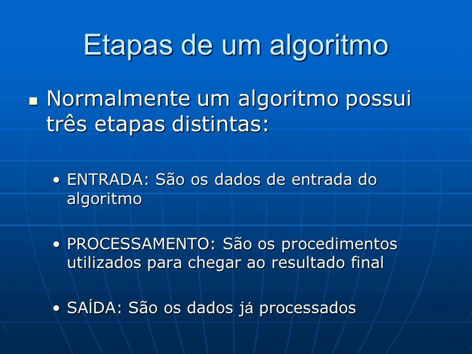 Etapas de um algoritmo Normalmente um algoritmo possui três etapas distintas: Normalmente um algoritmo possui três etapas distintas: ENTRADA: São os d