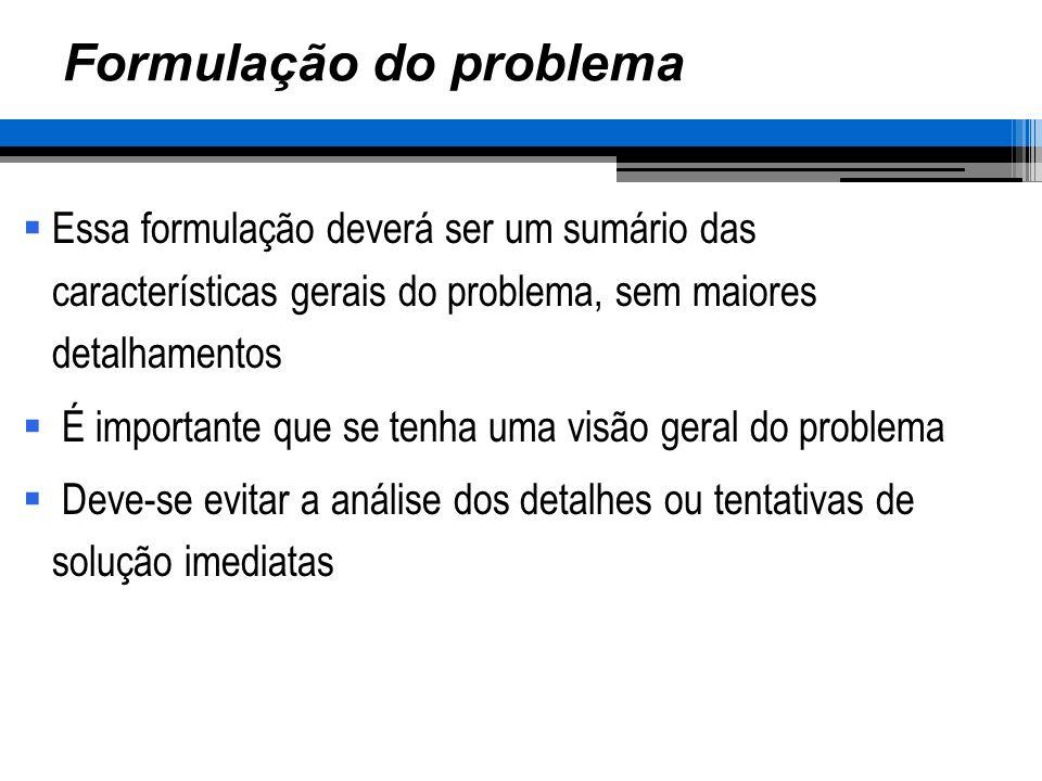 Formulação do problema Essa formulação deverá ser um sumário das características gerais do problema, sem maiores detalhamentos É importante que se tenha uma visão geral do problema Deve-se evitar a análise dos detalhes ou tentativas de solução imediatas