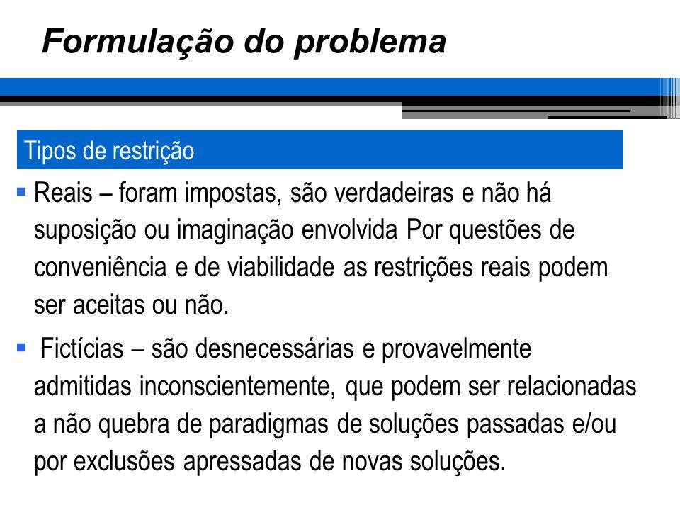Formulação do problema Reais – foram impostas, são verdadeiras e não há suposição ou imaginação envolvida Por questões de conveniência e de viabilidade as restrições reais podem ser aceitas ou não.