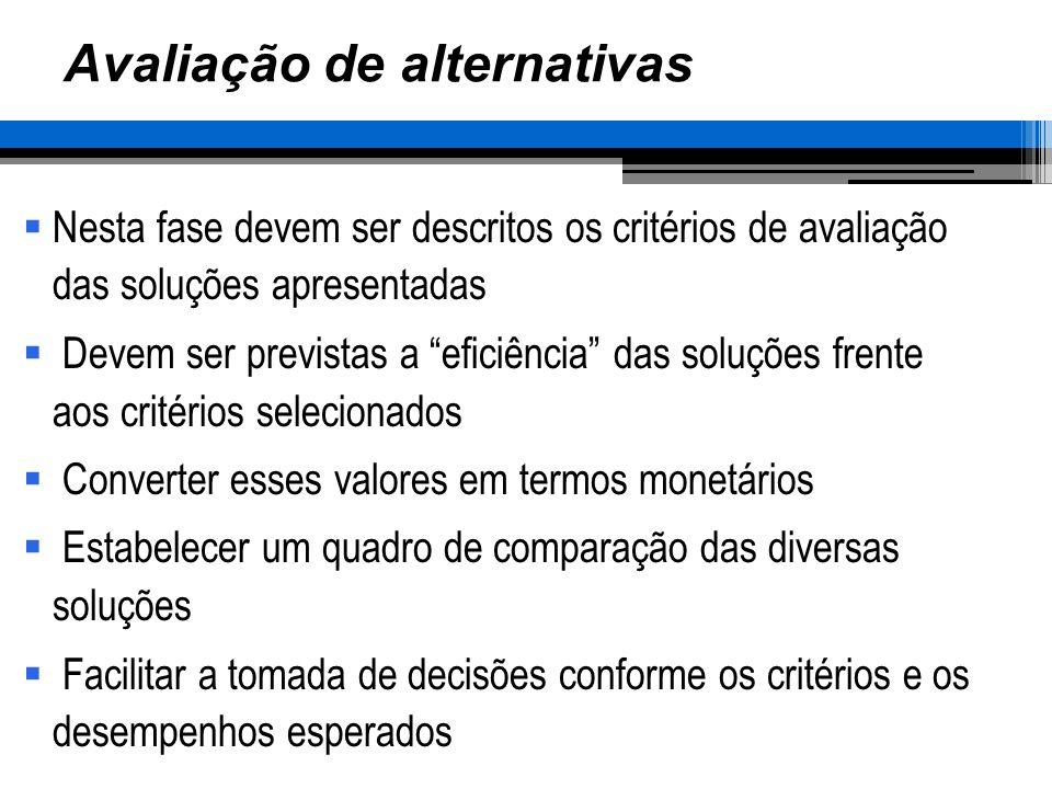Avaliação de alternativas Nesta fase devem ser descritos os critérios de avaliação das soluções apresentadas Devem ser previstas a eficiência das soluções frente aos critérios selecionados Converter esses valores em termos monetários Estabelecer um quadro de comparação das diversas soluções Facilitar a tomada de decisões conforme os critérios e os desempenhos esperados