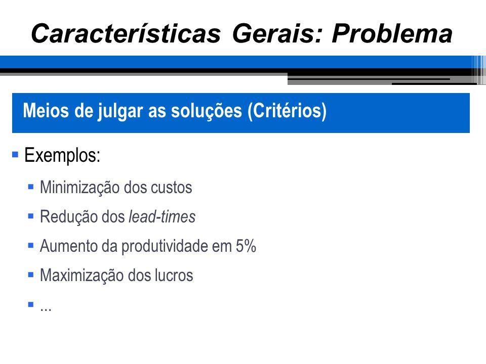Características Gerais: Problema Meios de julgar as soluções (Critérios) Exemplos: Minimização dos custos Redução dos lead-times Aumento da produtividade em 5% Maximização dos lucros...