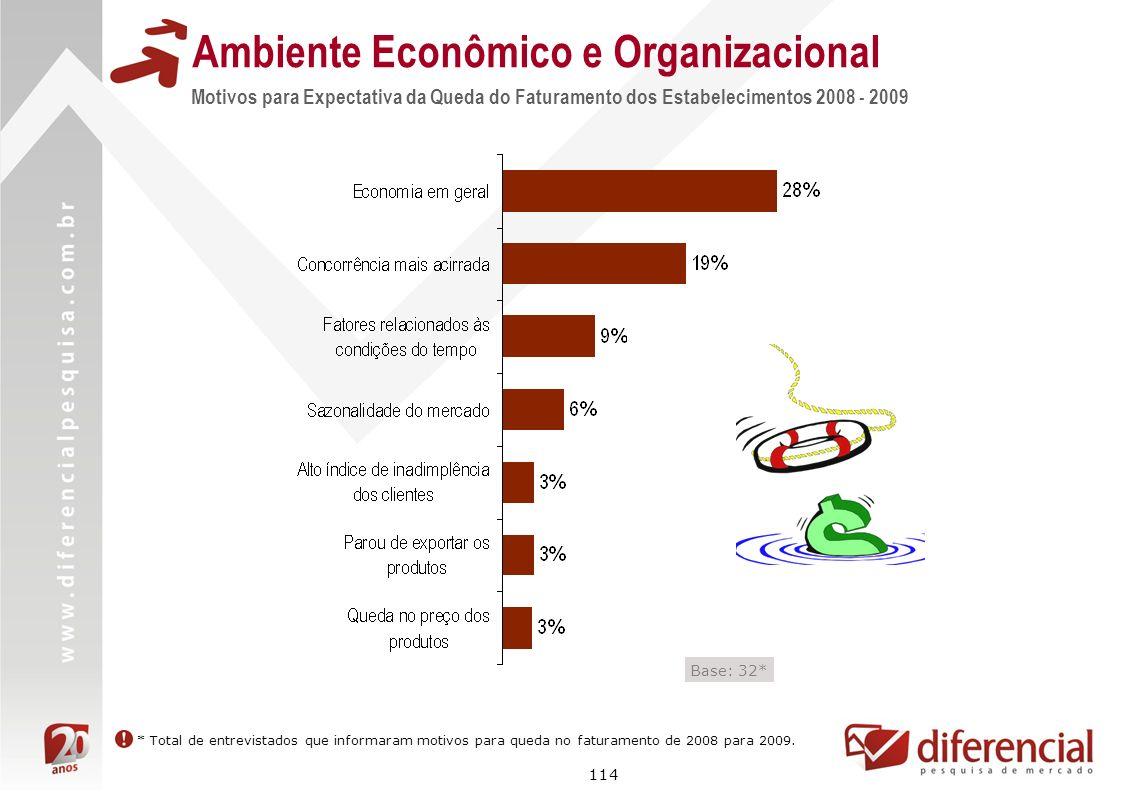 114 Ambiente Econômico e Organizacional Motivos para Expectativa da Queda do Faturamento dos Estabelecimentos 2008 - 2009 Base: 32* * Total de entrevi