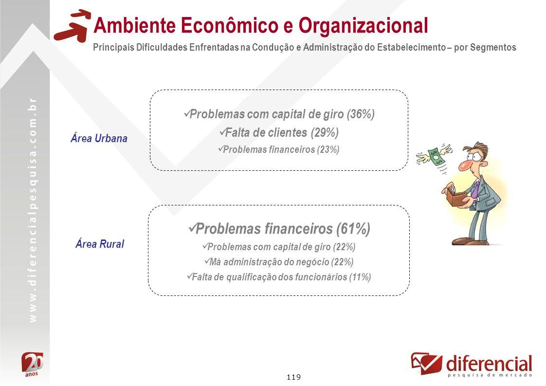 119 Principais Dificuldades Enfrentadas na Condução e Administração do Estabelecimento – por Segmentos Ambiente Econômico e Organizacional Problemas c