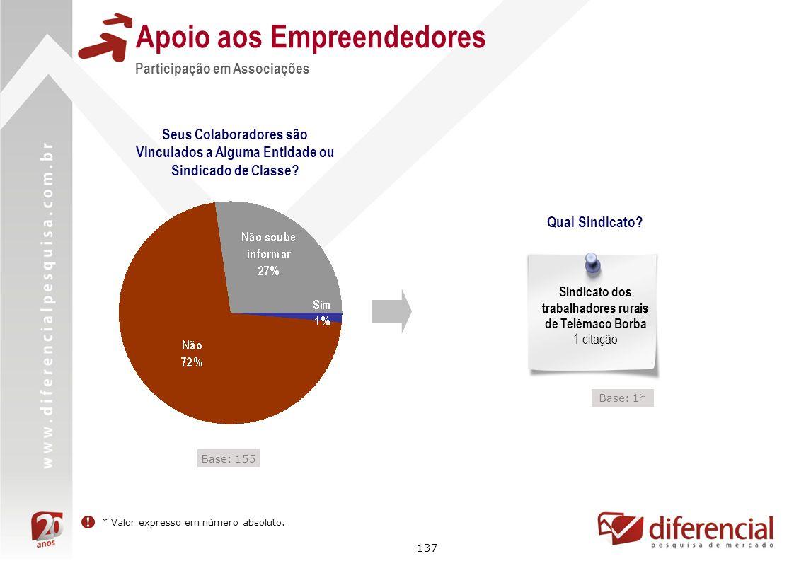 137 Apoio aos Empreendedores Seus Colaboradores são Vinculados a Alguma Entidade ou Sindicado de Classe? Participação em Associações Qual Sindicato? S