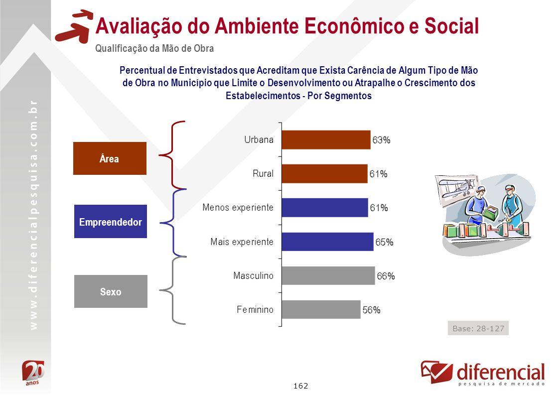 162 Avaliação do Ambiente Econômico e Social Qualificação da Mão de Obra Percentual de Entrevistados que Acreditam que Exista Carência de Algum Tipo d