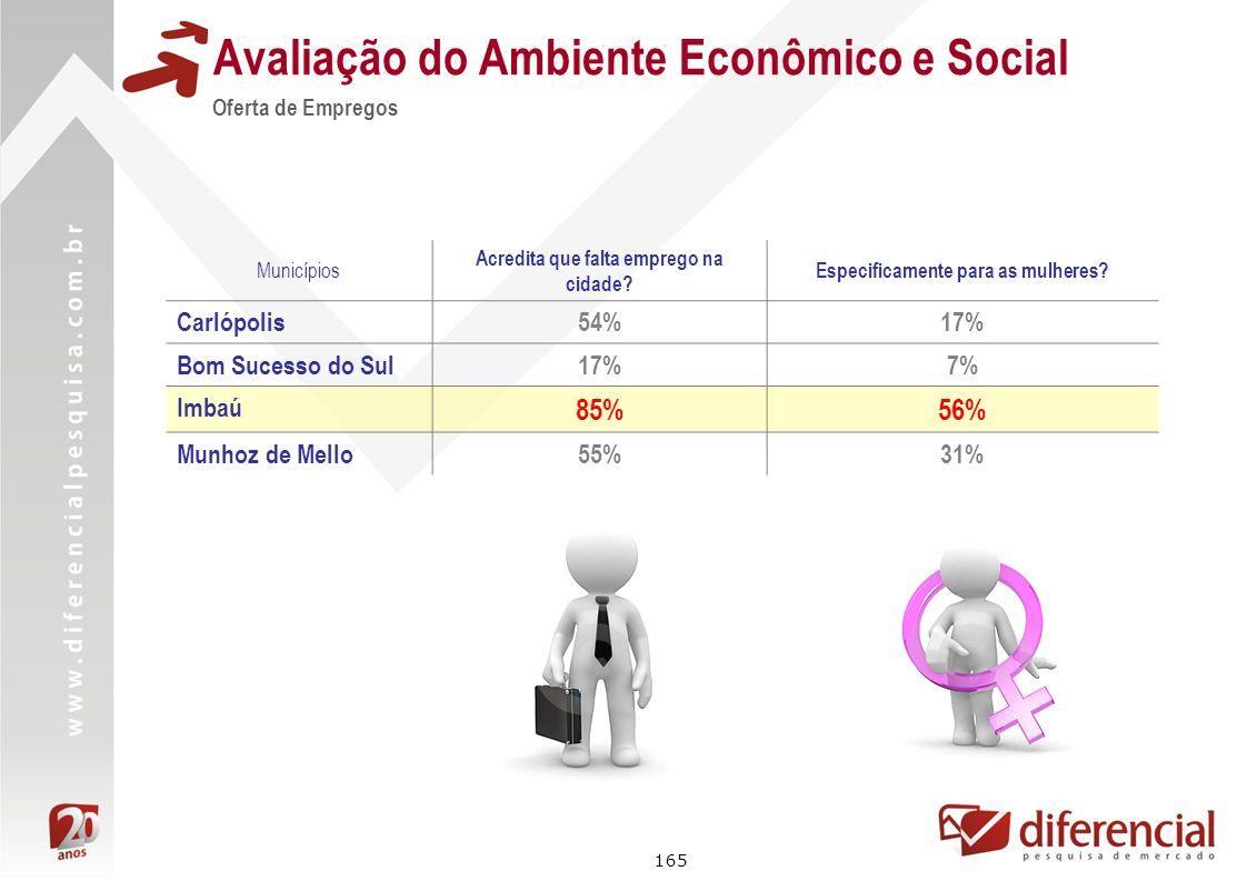 165 Avaliação do Ambiente Econômico e Social Oferta de Empregos Municípios Acredita que falta emprego na cidade? Especificamente para as mulheres? Car
