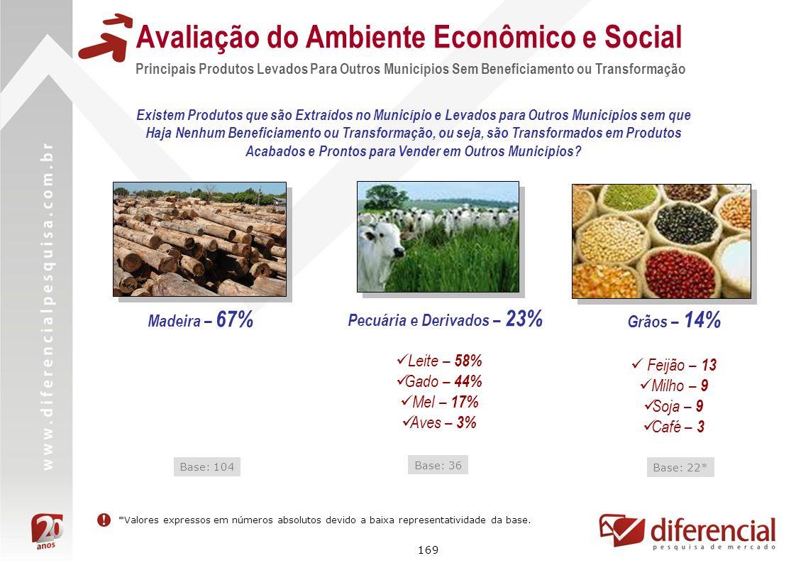 169 Avaliação do Ambiente Econômico e Social Principais Produtos Levados Para Outros Municípios Sem Beneficiamento ou Transformação Pecuária e Derivad