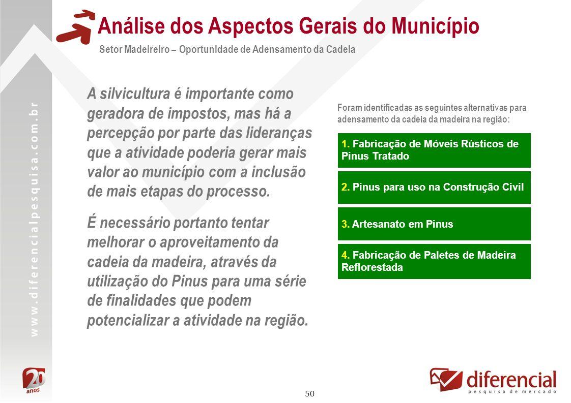 50 Análise dos Aspectos Gerais do Município Setor Madeireiro – Oportunidade de Adensamento da Cadeia A silvicultura é importante como geradora de impo