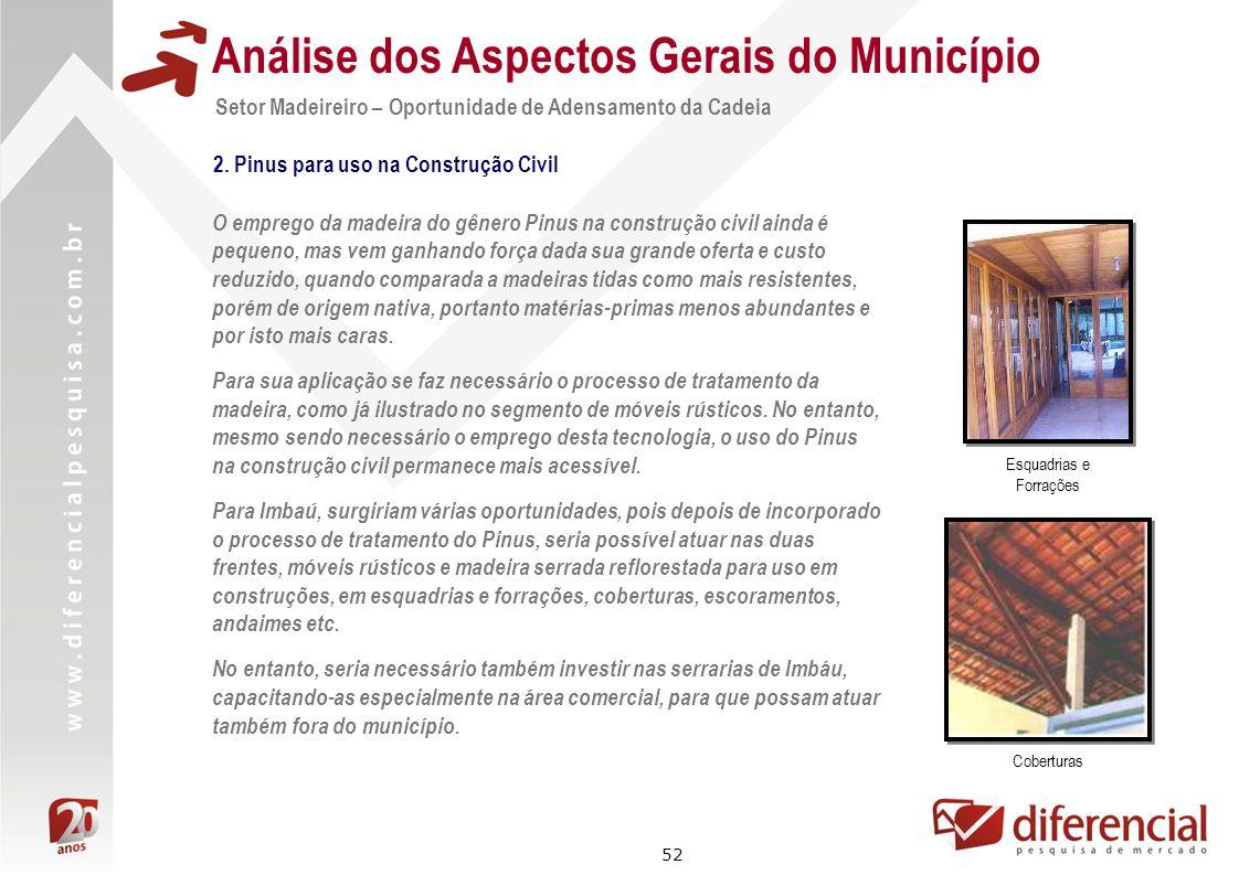 52 Análise dos Aspectos Gerais do Município Setor Madeireiro – Oportunidade de Adensamento da Cadeia O emprego da madeira do gênero Pinus na construçã