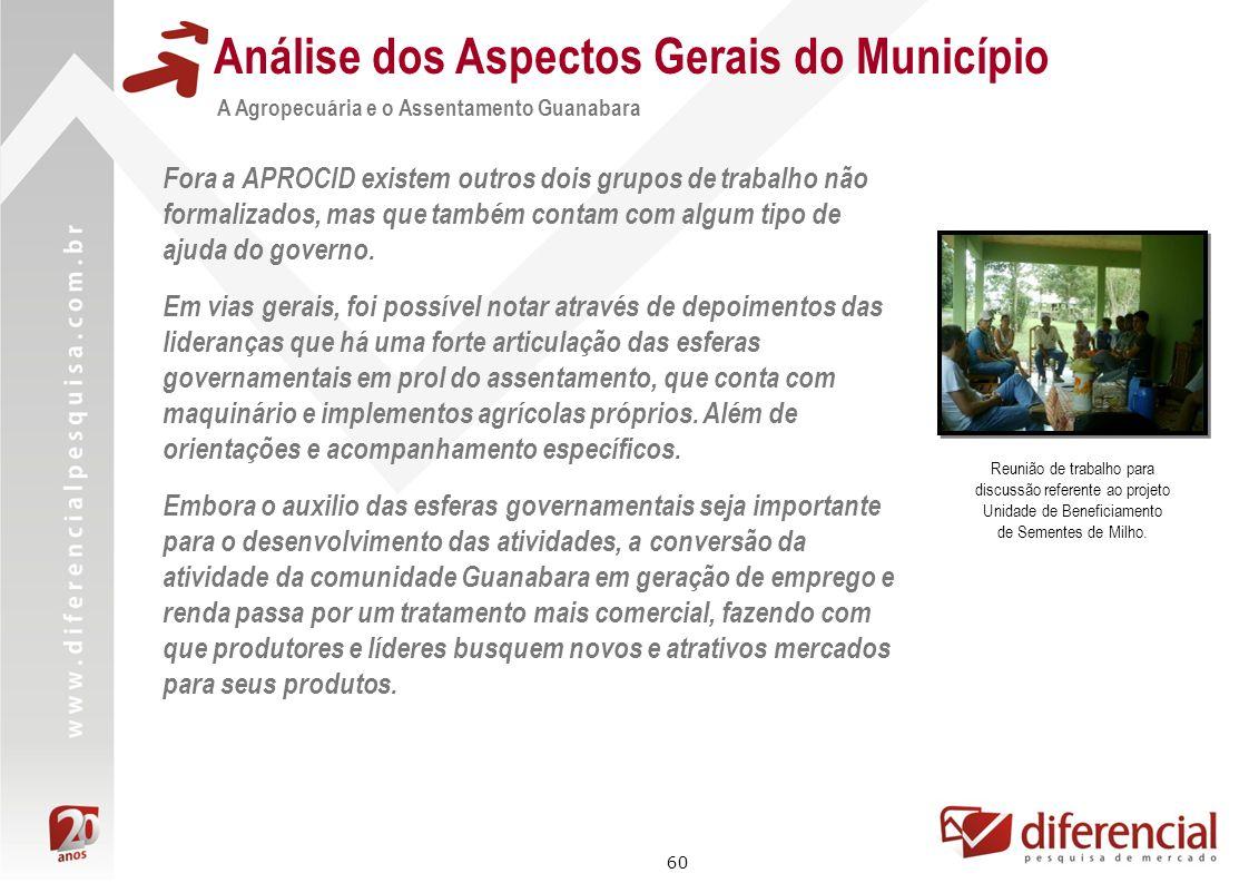 60 Análise dos Aspectos Gerais do Município A Agropecuária e o Assentamento Guanabara Fora a APROCID existem outros dois grupos de trabalho não formal