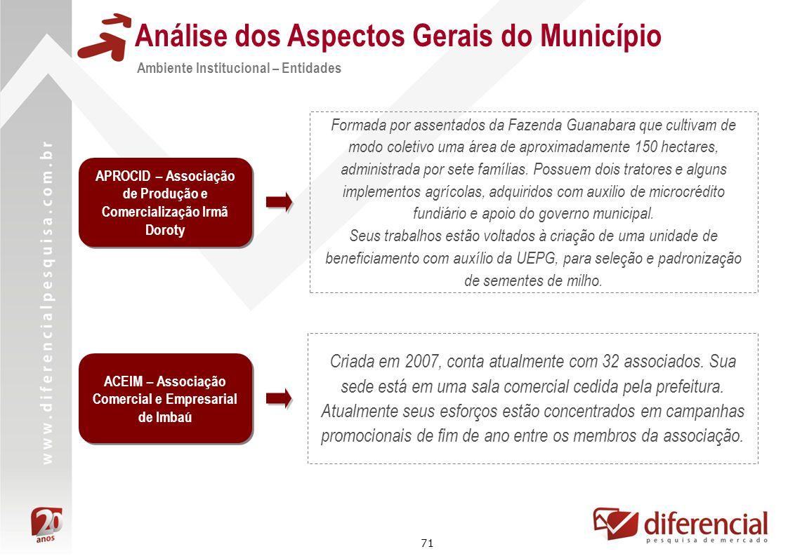 71 Análise dos Aspectos Gerais do Município Formada por assentados da Fazenda Guanabara que cultivam de modo coletivo uma área de aproximadamente 150