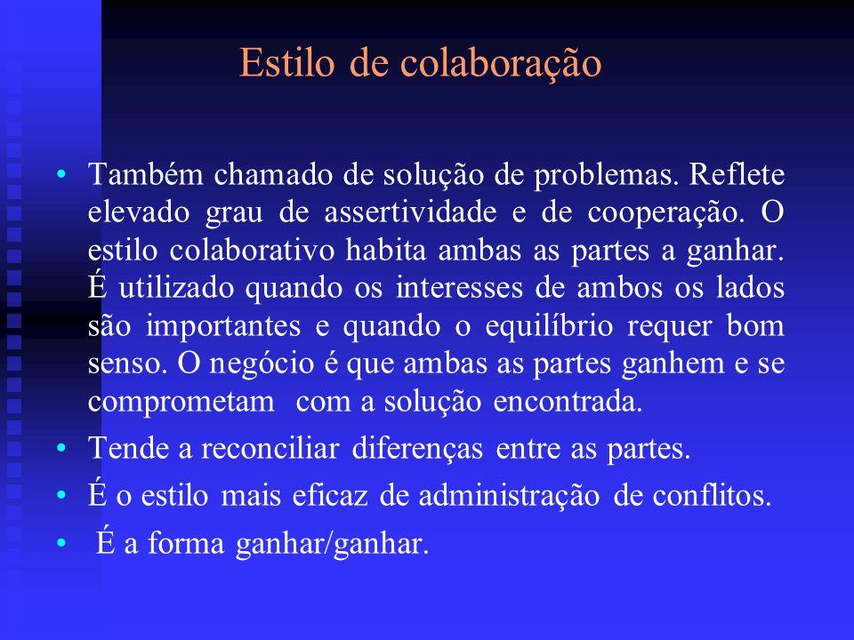Estilo de colaboração Também chamado de solução de problemas. Reflete elevado grau de assertividade e de cooperação. O estilo colaborativo habita amba