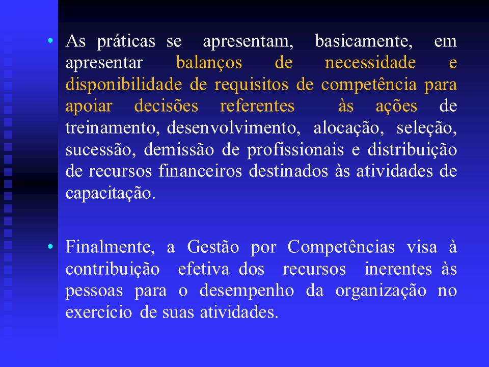 As práticas se apresentam, basicamente, em apresentar balanços de necessidade e disponibilidade de requisitos de competência para apoiar decisões refe