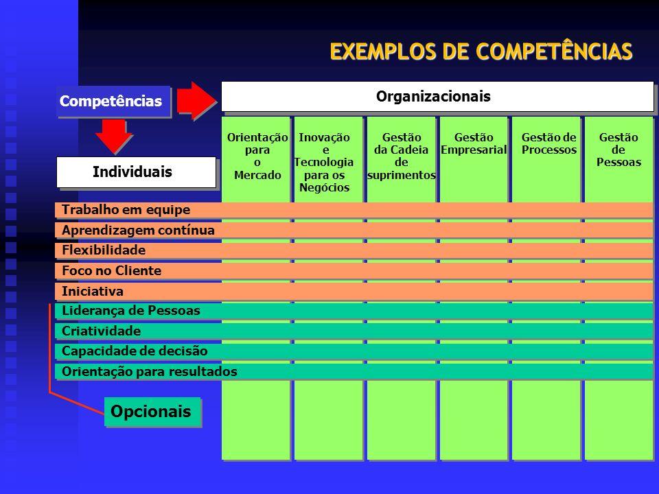 EXEMPLOS DE COMPETÊNCIAS Orientação para o Mercado Gestão da Cadeia de suprimentos Inovação e Tecnologia para os Negócios Gestão de Pessoas Gestão Emp