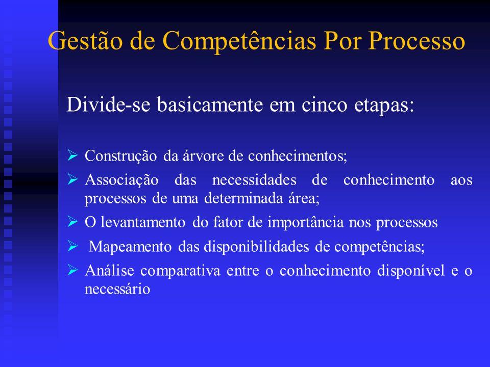 Gestão de Competências Por Processo Divide-se basicamente em cinco etapas: Construção da árvore de conhecimentos; Associação das necessidades de conhe