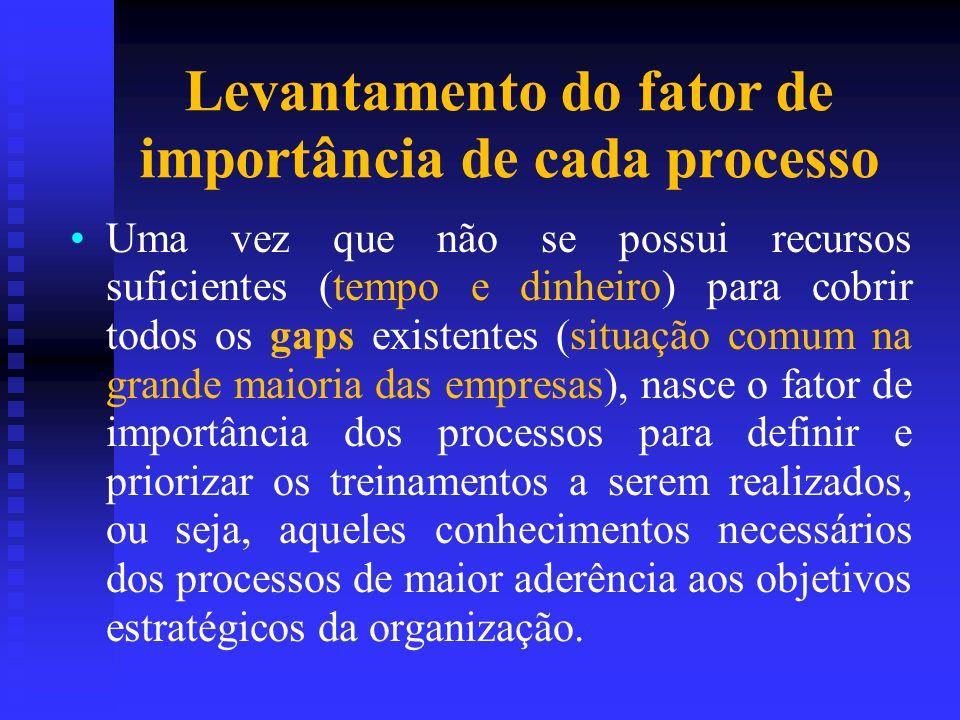 Levantamento do fator de importância de cada processo Uma vez que não se possui recursos suficientes (tempo e dinheiro) para cobrir todos os gaps exis
