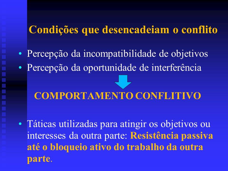 Condições que desencadeiam o conflito Percepção da incompatibilidade de objetivos Percepção da oportunidade de interferência COMPORTAMENTO CONFLITIVO