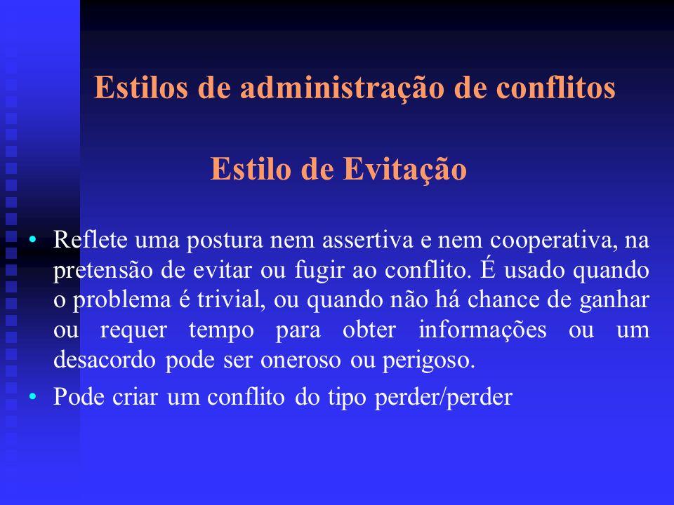 Estilos de administração de conflitos Estilo de Evitação Reflete uma postura nem assertiva e nem cooperativa, na pretensão de evitar ou fugir ao confl
