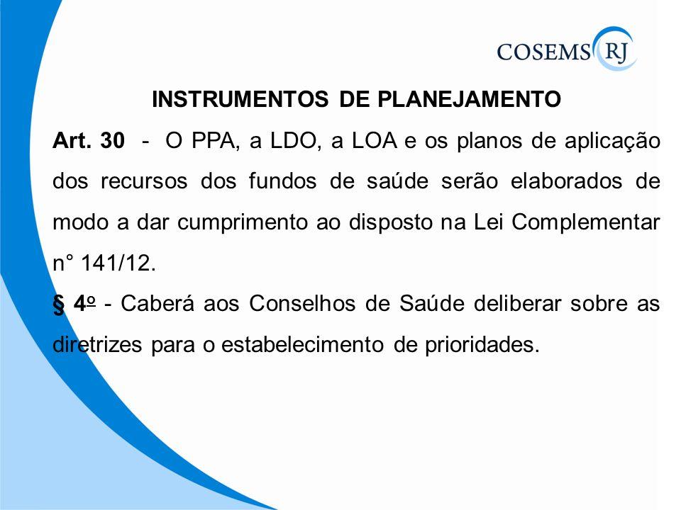 INSTRUMENTOS DE PLANEJAMENTO Art. 30 - O PPA, a LDO, a LOA e os planos de aplicação dos recursos dos fundos de saúde serão elaborados de modo a dar cu