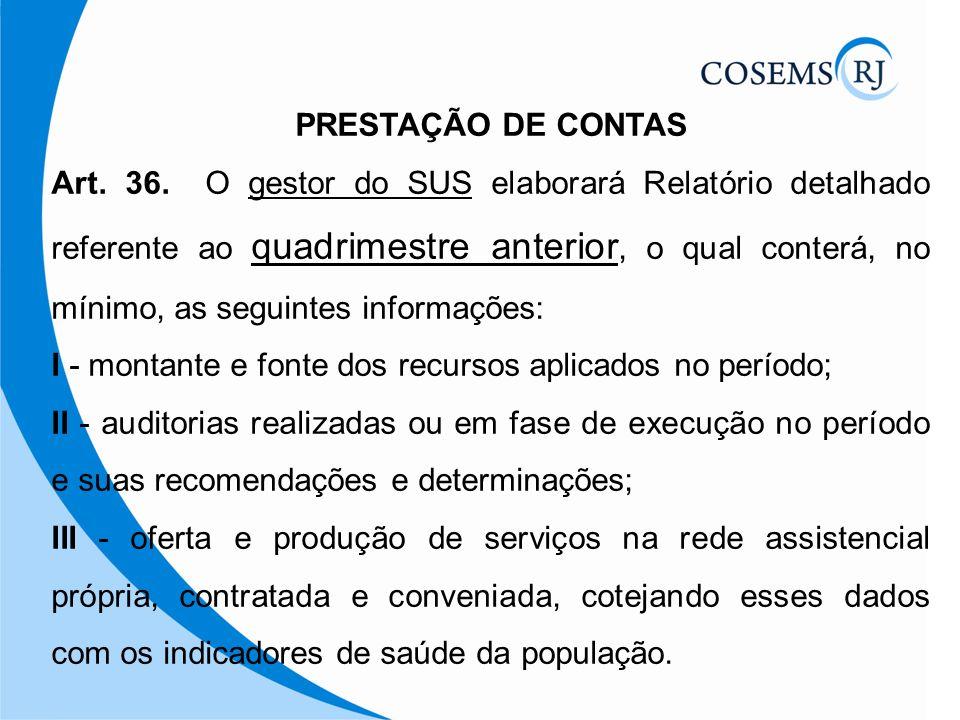 PRESTAÇÃO DE CONTAS Art. 36. O gestor do SUS elaborará Relatório detalhado referente ao quadrimestre anterior, o qual conterá, no mínimo, as seguintes