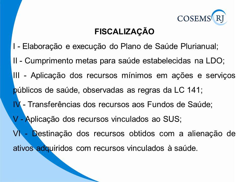FISCALIZAÇÃO I - Elaboração e execução do Plano de Saúde Plurianual; II - Cumprimento metas para saúde estabelecidas na LDO; III - Aplicação dos recur