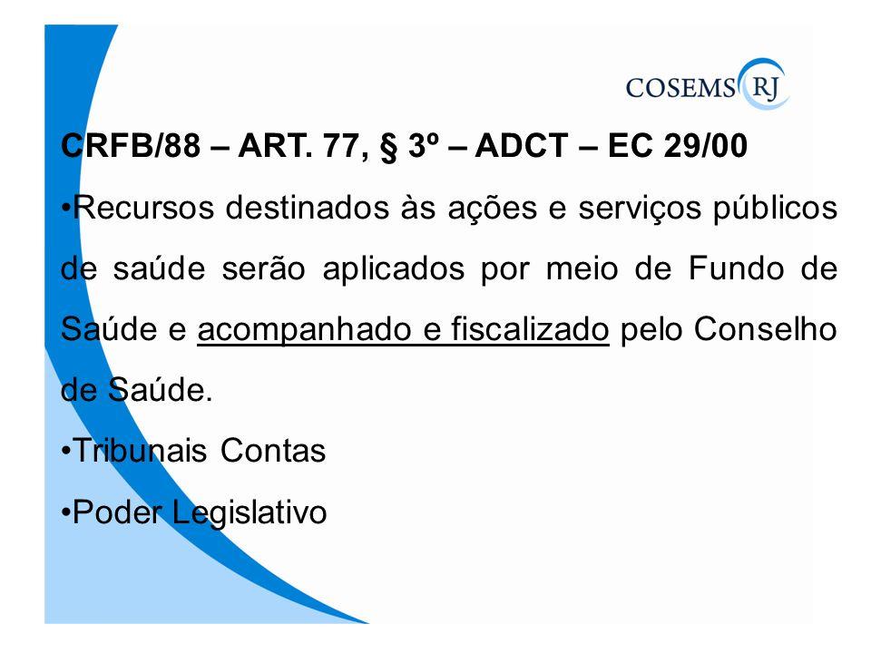 CRFB/88 – ART. 77, § 3º – ADCT – EC 29/00 Recursos destinados às ações e serviços públicos de saúde serão aplicados por meio de Fundo de Saúde e acomp