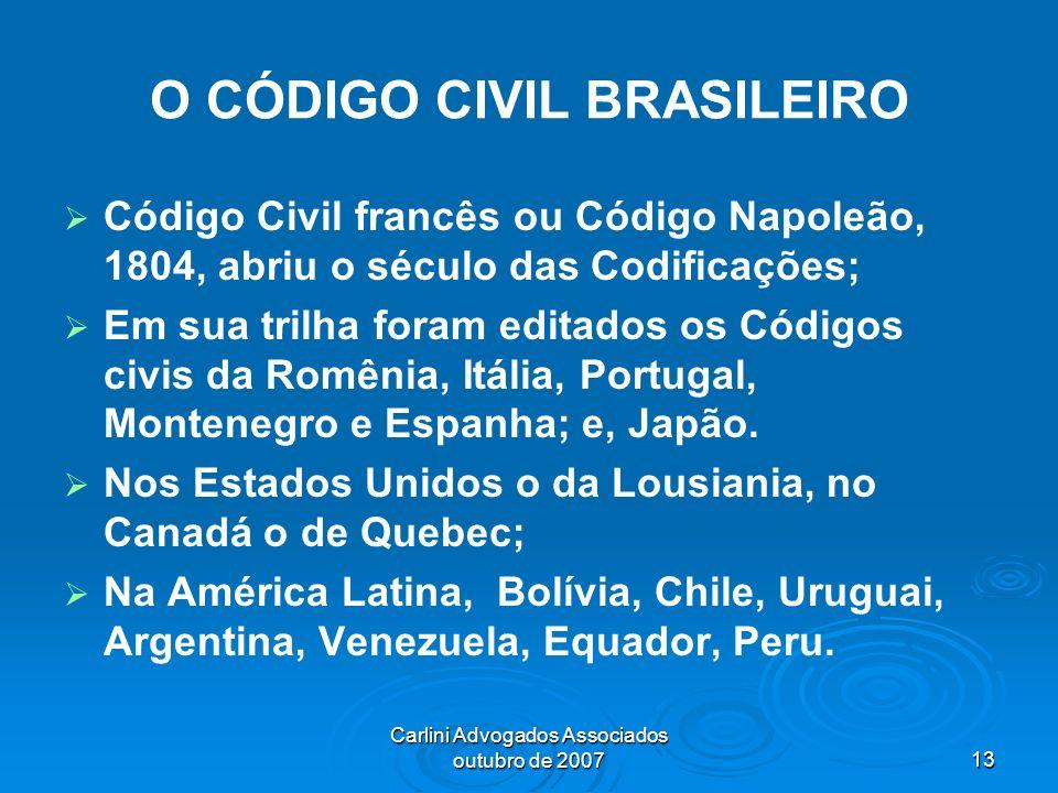 Carlini Advogados Associados outubro de 200713 O CÓDIGO CIVIL BRASILEIRO Código Civil francês ou Código Napoleão, 1804, abriu o século das Codificaçõe